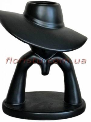 Ваза керамическая Девушка в шляпе черная 27 см