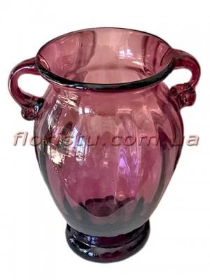 Ваза стеклянная Амфора дымчато-бордовая 26 см