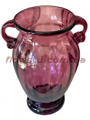 Ваза стеклянная Амфора дымчато-бордовая 30 см