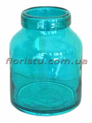 Ваза банка из цветного стекла Бирюза 16 см