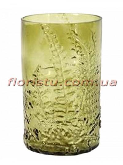 Ваза из оливкового стекла Папоротник 19,5 см