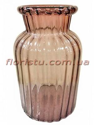 Ваза из цветного стекла Коричневая 30 см