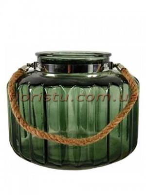 Ваза подсвечник из зеленого стекла с веревочной ручкой 19/18 см