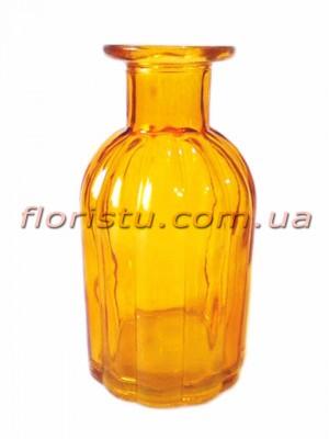Ваза из стекла винтажная бутылка Янтарная 14 см