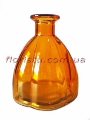 Ваза из цветного стекла винтажная Бутылка янтарная 11 см
