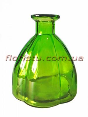 Ваза из цветного стекла винтажная Бутылка зеленая 11 см