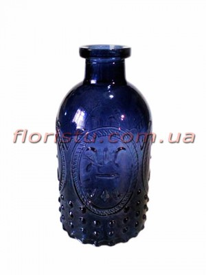Ваза-бутылка из стекла с узором Темно-синяя 13 см