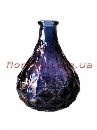 Ваза-бутылка стеклянная с орнаментом Темно-синяя 12 см