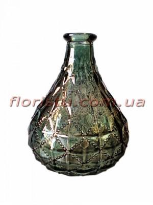 Ваза-бутылка стеклянная с орнаментом Темно-зеленая 12 см
