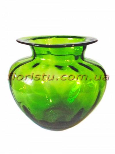 Ваза стеклянная бочковидная Зеленая 15 см
