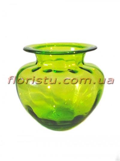 Ваза стеклянная бочковидная Зеленая 12 см