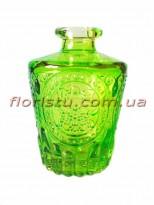 Ваза-мини стеклянная бутылка с узором Зеленая 9,5 см