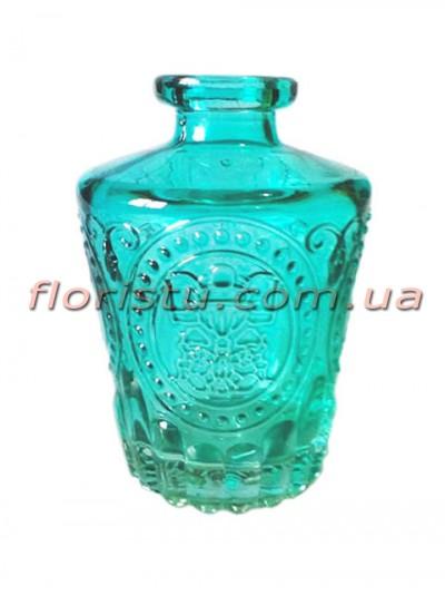Ваза-мини стеклянная бутылка с узором Бирюза 9,5 см