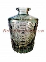 Ваза-мини стеклянная бутылка с узором Темно-серая 9,5 см