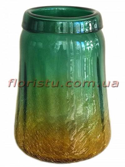 Ваза из двухцветного стекла премиум класса Золотисто-зеленая 29 см