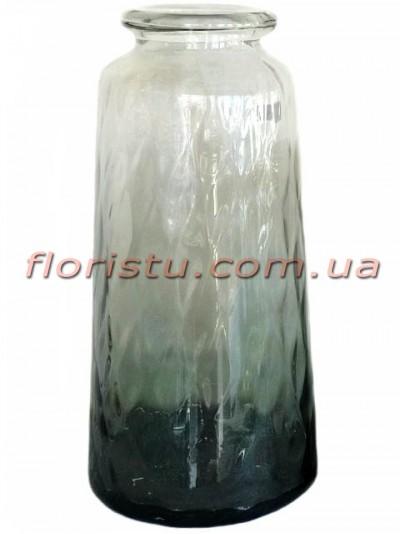 Ваза из двухцветного стекла премиум класса Темно-серая 39 см