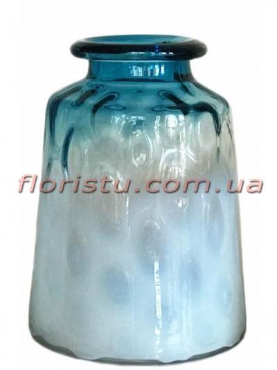 Ваза из двухцветного стекла премиум класса Бело-голубая 30 см