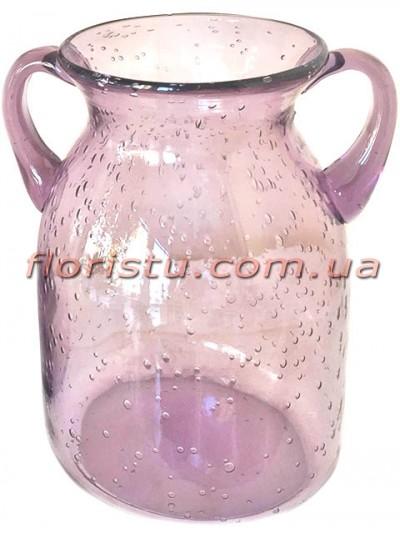 Ваза кувшин с двумя ручками из цветного стекла Сиреневая 24 см