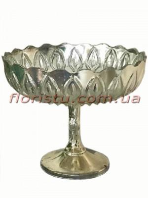 Ваза фруктовница стеклянная Серебро 20 см
