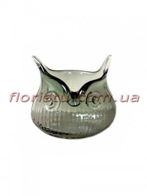 Ваза Сова из цветного стекла темно-серая 10 см