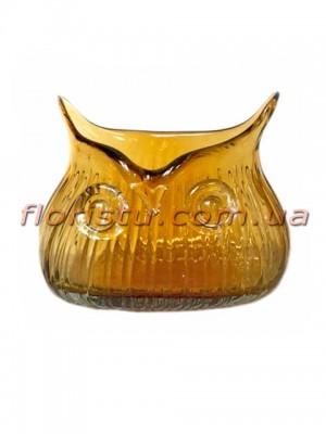 Ваза Сова из цветного стекла янтарная 15 см