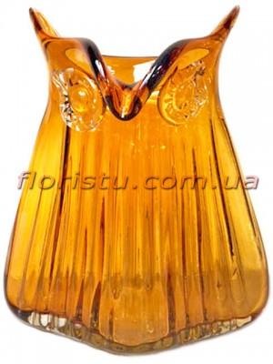 Ваза Сова из цветного стекла янтарная 26 см