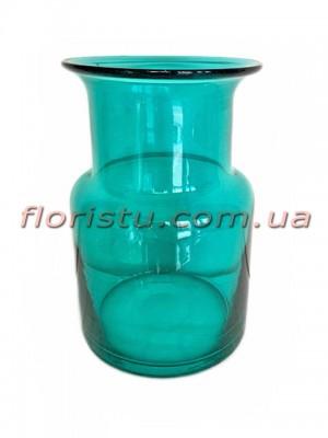 Ваза цилиндр из цветного стекла Бирюза 20 см