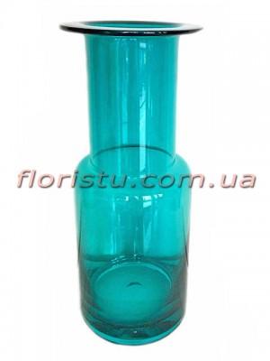 Ваза цилиндр из цветного стекла Бирюза 30 см