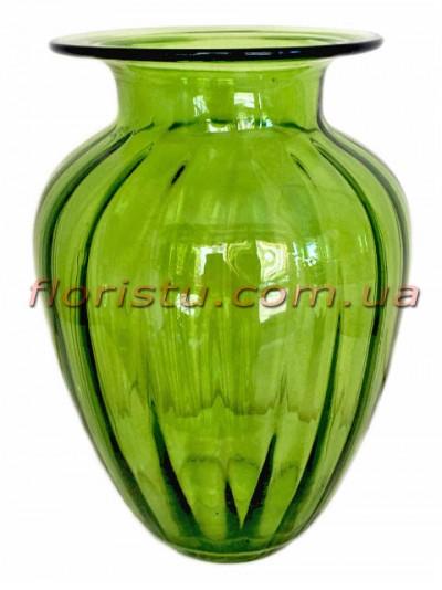 Ваза стеклянная Lily Зеленая 25 см
