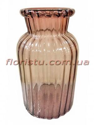 Ваза из цветного стекла Коричневая 25 см
