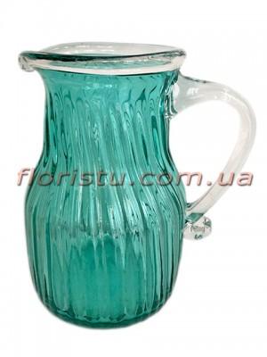 Ваза кувшин из цветного стекла Бирюза 22 см