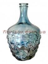 Ваза графин из цветного стекла Синяя 25 см