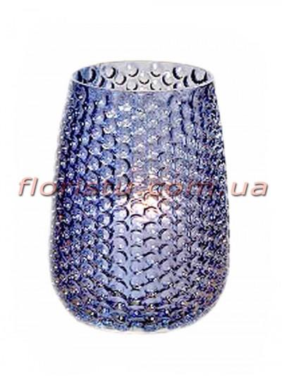 Ваза подсвечник из стекла синяя 19 см