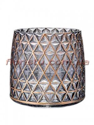 Ваза из стекла премиум класса Diamond Star с золотом 22 см