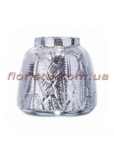 Ваза из стекла премиум класса Diamond Star Серебро 16 см