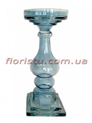Подсвечник из цветного стекла Винтаж голубой 32 см