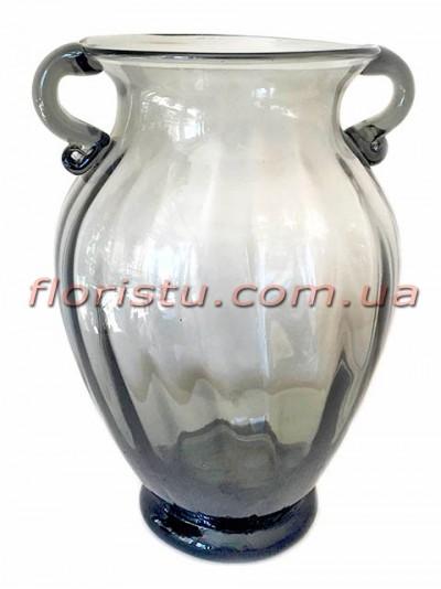 Ваза стеклянная Амфора дымчато-серая 30 см