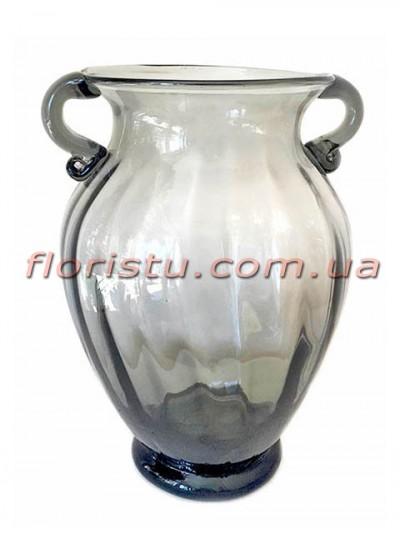Ваза стеклянная Амфора дымчато-серая 26 см