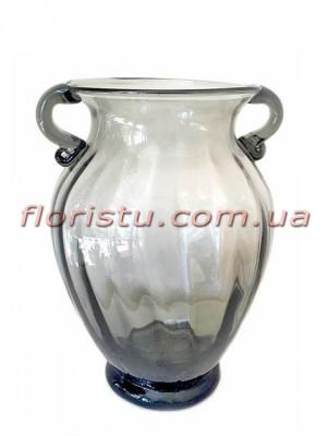 Ваза стеклянная Амфора дымчато-серая 21 см