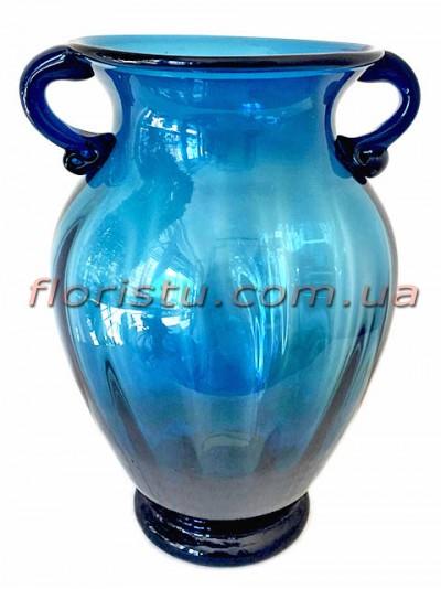 Ваза стеклянная Амфора синяя 30 см