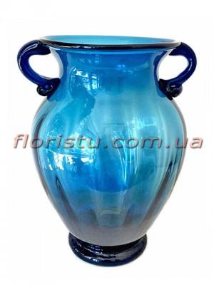 Ваза стеклянная Амфора синяя 26 см