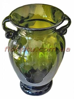 Ваза стеклянная Амфора зеленая 30 см