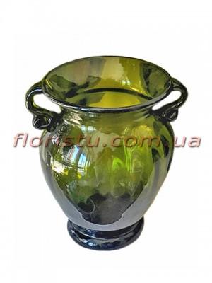 Ваза стеклянная Амфора зеленая 17 см