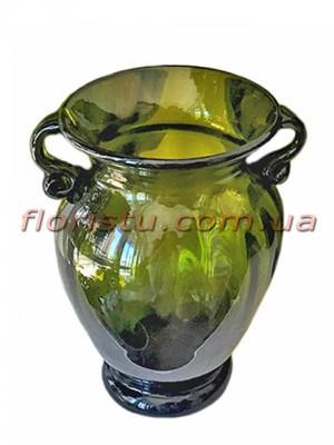 Ваза стеклянная Амфора зеленая 21 см