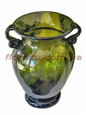 Ваза стеклянная Амфора зеленая 26 см