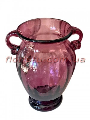 Ваза стеклянная Амфора дымчато-бордовая 21 см