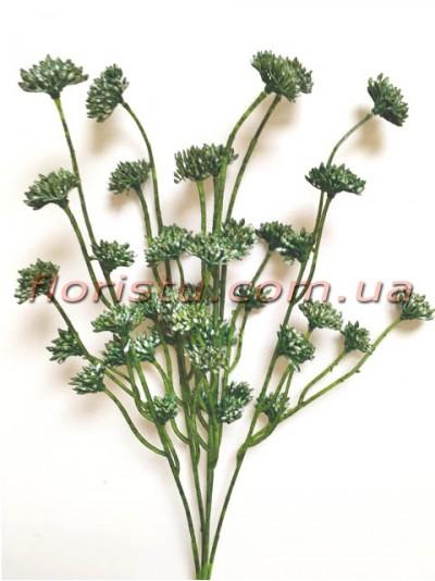 Ветка с соцветиями пластик Зеленая 40 см гол. 2 см