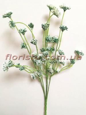 Ветка с соцветиями пластик Бело-зеленая 40 см гол. 2 см