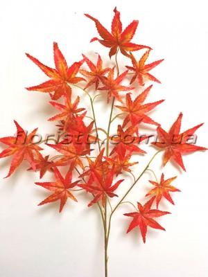 Ветка клена искусственная Осенняя оранж 67 см