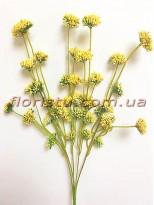 Ветка с соцветиями пластик Желтая 40 см гол. 2 см